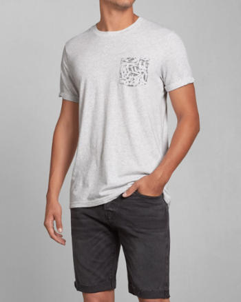 Mens Contrast Pattern Pocket Tee