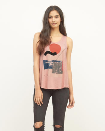 Womens Chiffon Flyaway Back Graphic Tank