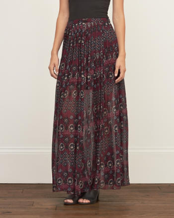 Womens Pleated Chiffon Maxi Skirt