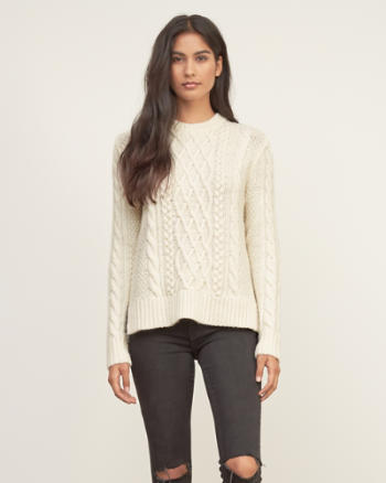 Womens Cable Knit Pullover