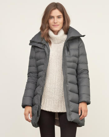 Womens A&F Down Series Mid-thigh Parka