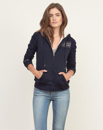 Womens Sherpa Lined Logo Graphic Hoodie