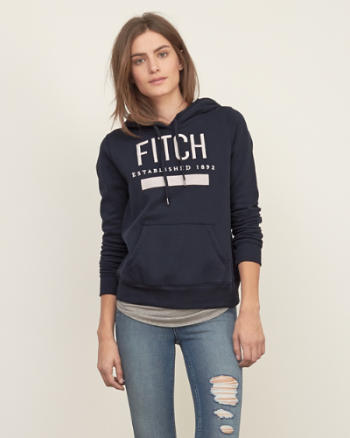 Womens Embroidered Logo Graphic Hoodie