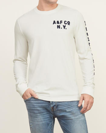 Mens Applique Graphic Long Sleeve Tee