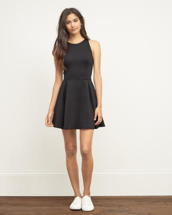 Womens Neoprene High Neck Skater Dress