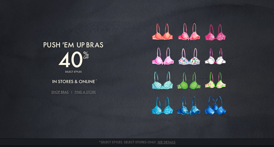 Take 40% off bras at Gilly Hicks!