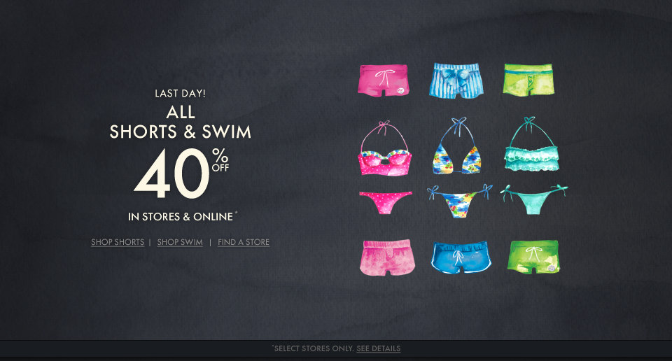 All Gilly Hicks Shorts & Swim are 40% off for a limited time!