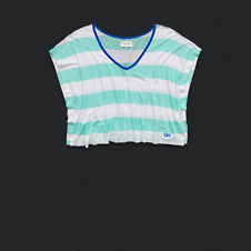 Womens Stripe V-Neckline Cropped Tee