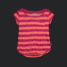 Womens Stripe Scoop Neckline Tee