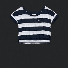 Womens Stripe Cropped Tee