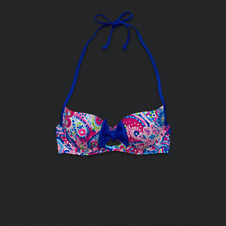 Printed Keyhole With Bow Swim Top