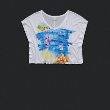 Womens Watercolor Scene Graphic Cropped Tee
