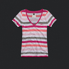 Womens Striped V-Neck Tee