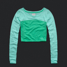 Womens Colorblocked Cropped Tee