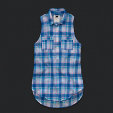 Womens Sleeveless Plaid Popover Shirt