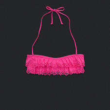 Womens Ruffle Bandeau Swim Top