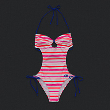 Womens Stripe One-Piece Swim Suit