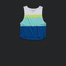 Womens Colorblocked Cropped Tank