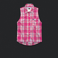 Womens Sleeveless Plaid Shirt