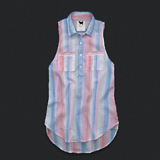 Womens Sleeveless Striped Popover Shirt