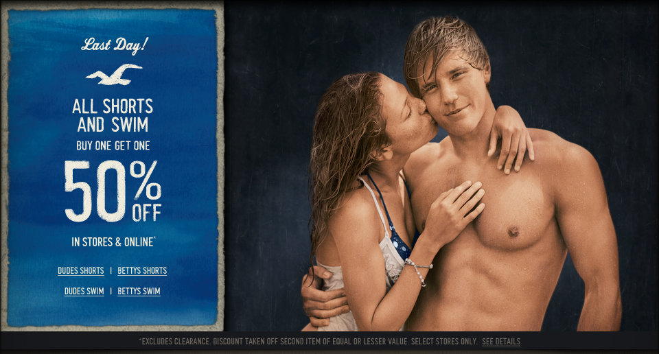 All Hollister Co. Shorts & Swim is buy one get one 50% off, in stores and online for a limited time!