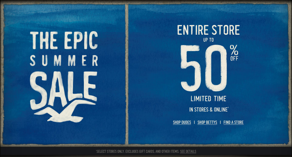 The entire Hollister Co. Store is up to 50% off in stores and online!