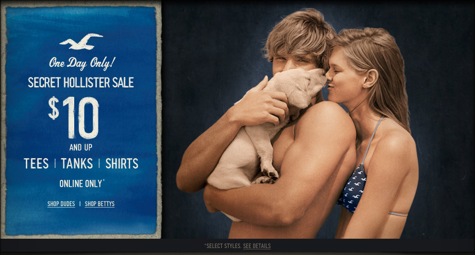 Hollister Co. Tops are $10 & up, today only!