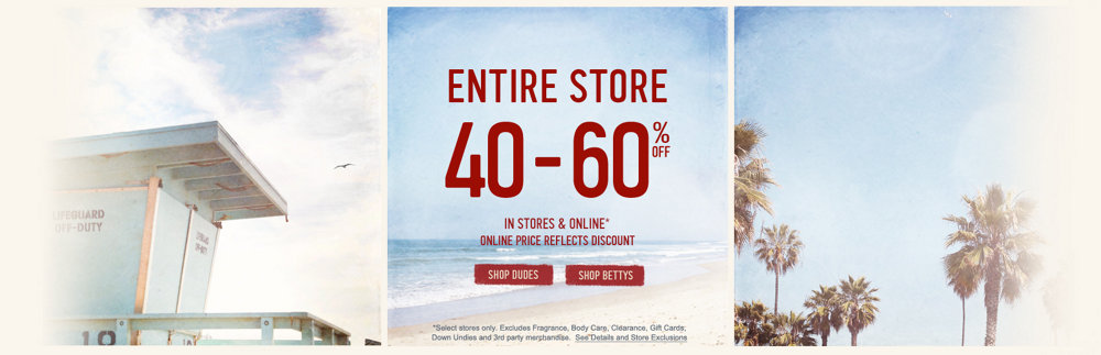 The entire store is 40-60% off!