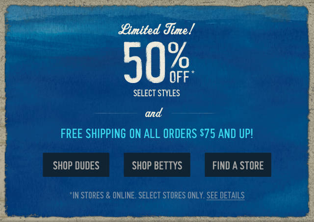 Limited time, 50% off select styles at Hollister Co.!
