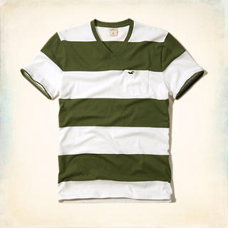 Striped V-Neck Pocket T-Shirt