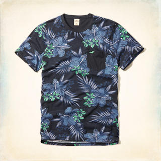Tropical Pattern Pocket T-Shirt