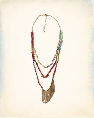 Fringe Beaded Strands Necklace
