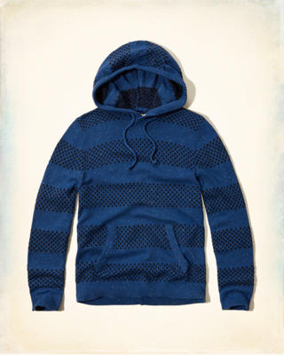 Patterned Rib-trim Sweater Hoodie
