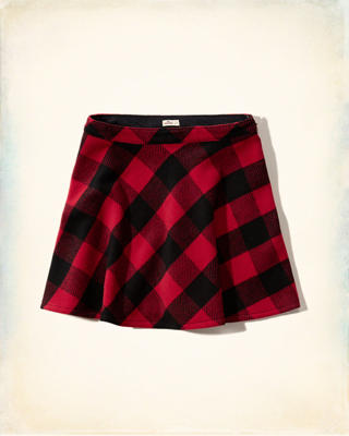 Woven Plaid Wool Skirt