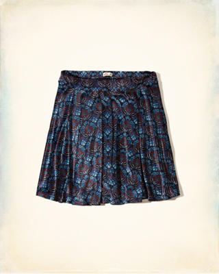 Patterned Velvet Skater Skirt