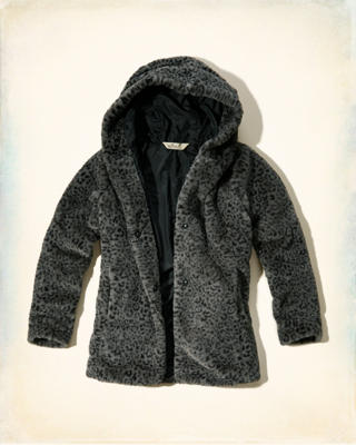 Patterned Faux Fur Hooded Jacket