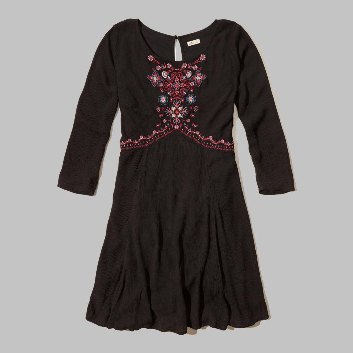 Embroidered Keyhole Dress