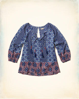 Mixed Print Peasant Top