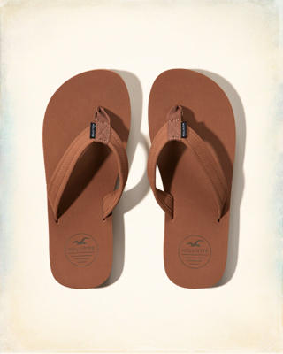 Leather Logo Flip-Flops