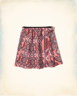 Patterned A-Line Skirt