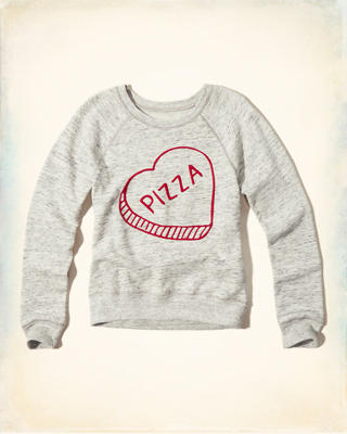 Embroidered Pizza Graphic Sweatshirt