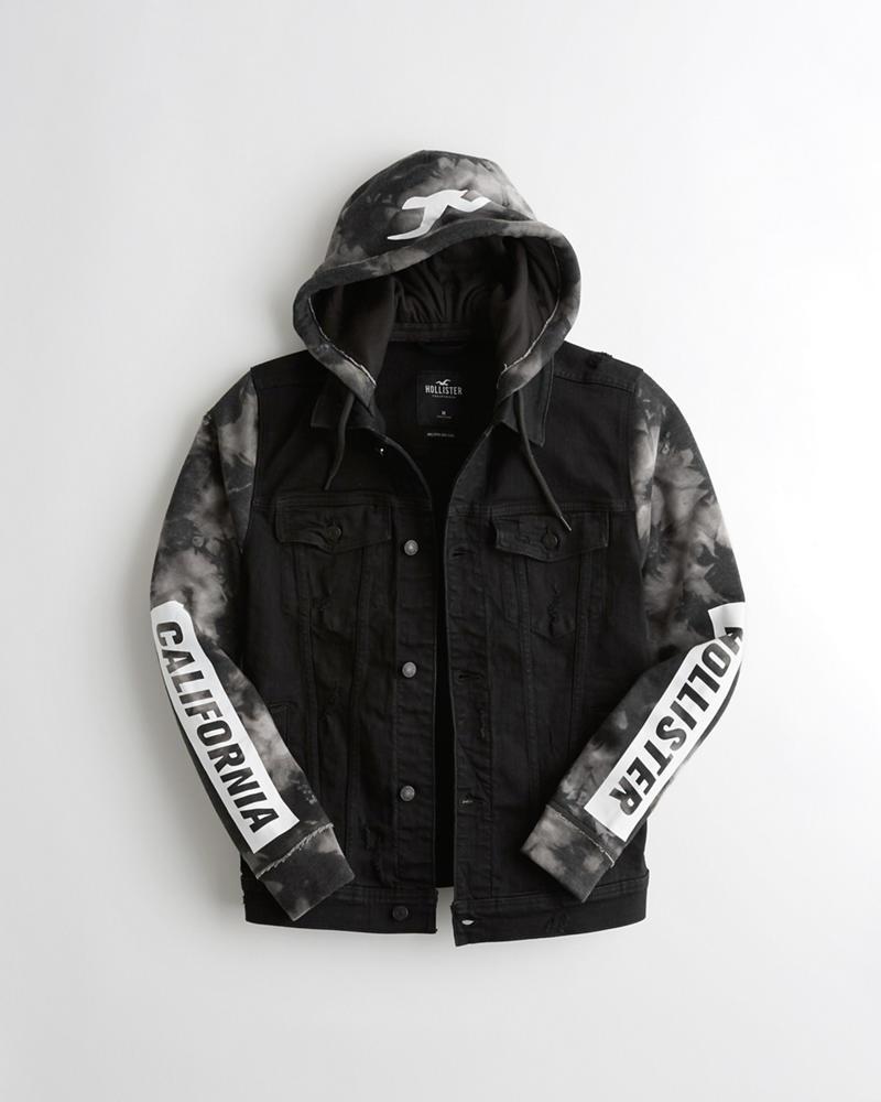 f480d17125f9 Stretch Hooded Denim Jacket