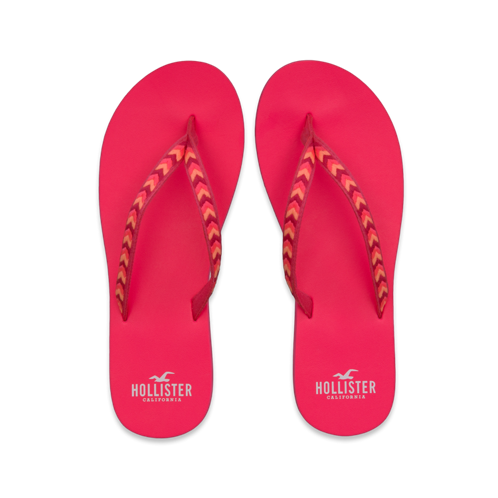 Girls Embroidered Classic Flip Flops
