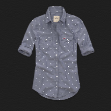 Girls Emma Wood Dot Denim Shirt