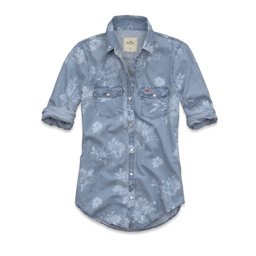 Girls El Pescador Floral Denim Shirt