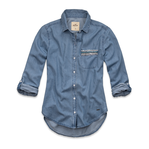 Girls Embarcadero Embellished Denim Shirt