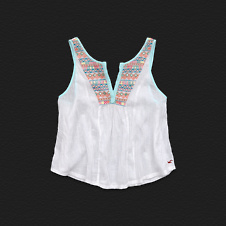 Girls White Point Cami