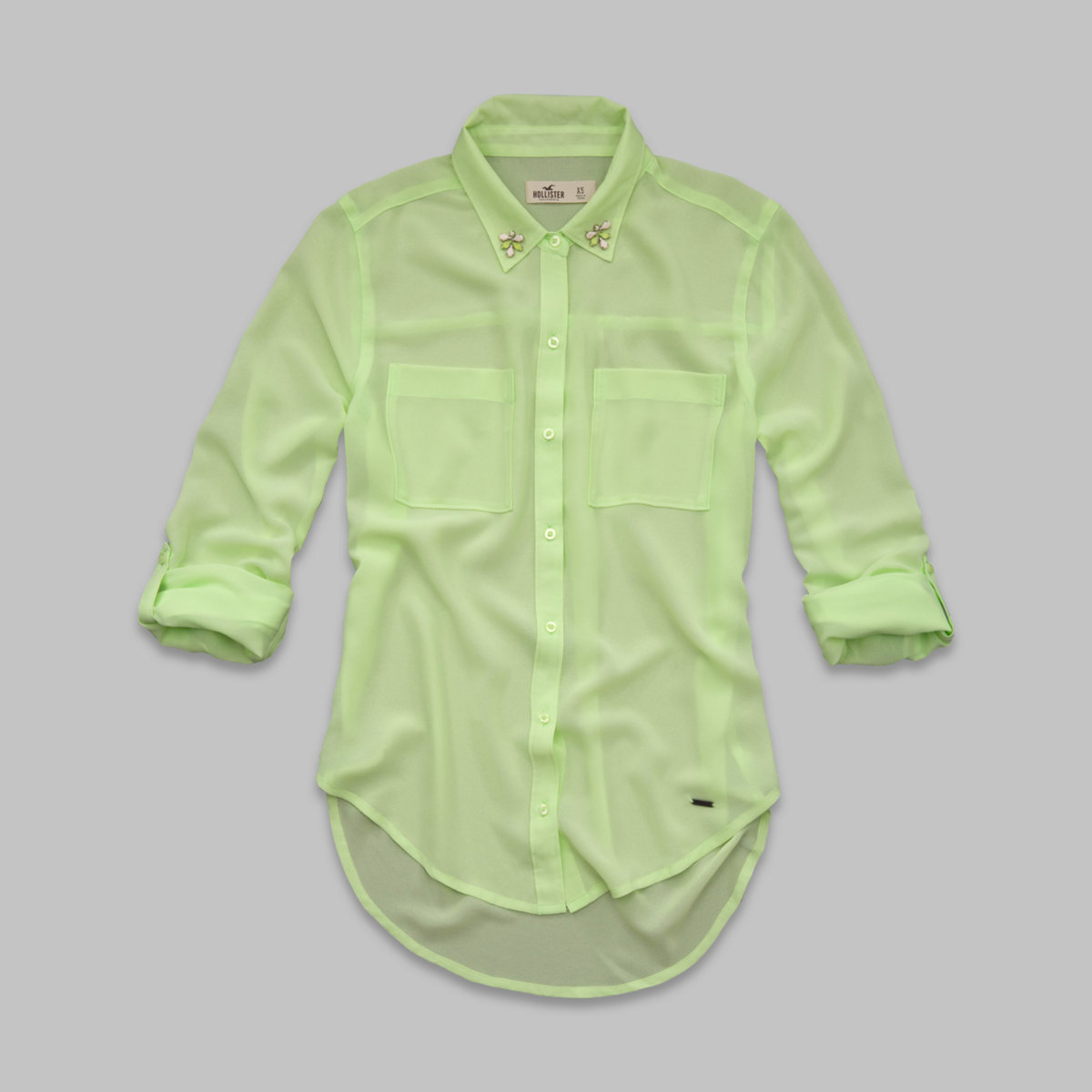 Solana Beach Embellished Collar Chiffon Shirt