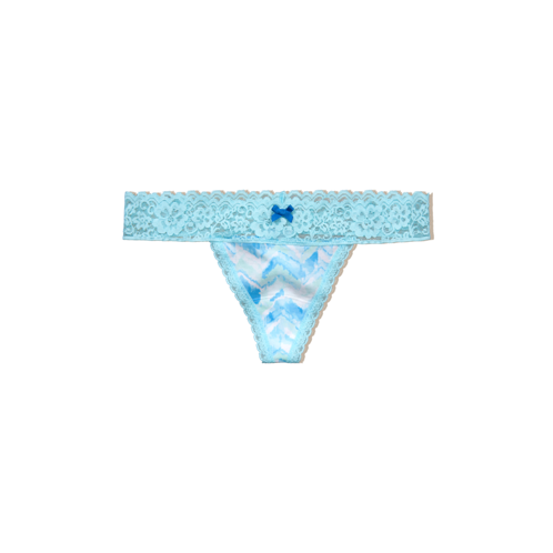 Girls Cotton & Lace Thong Undie