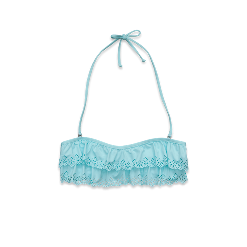 Girls GH Laser-Cut Ruffle Swim Top